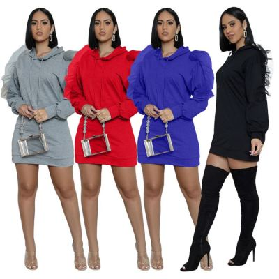 Wholesale Hot Onsale Fashion Women Clothing 2020 Winter Solid Color Hoodie Dress Ruffles Woman Casual Dress