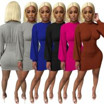 High Quality 2020 Fall Women Clothes Long Sleeves Solid Color Women Casual Dress Lady Elegant Bodycon Dresses