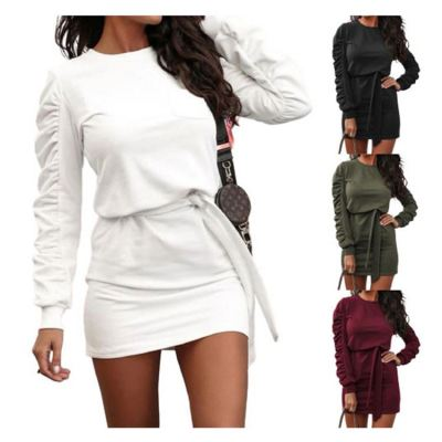 Hot Selling Top Fashion Trend Women Fall Clothing Solid Color Long Sleeves Women Casual Dresses Lady Dress