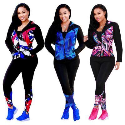 New Arrival Fashionable Winter Pattern Print Hooied Zipper2 Piece Set Women Two Piece Set Women Clothing Sets