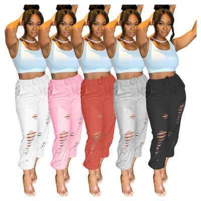 Lastest Design 2020 Fall Fashion Clothing Solid Color Casual Ripped Women Pants Lady Trousers Women Bottoms Pants