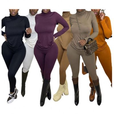 Good Style Solid Color Turtleneck Stretchy Fashion 2 Piece Set Women Winter Clothing Sets Womens Two Piece Set