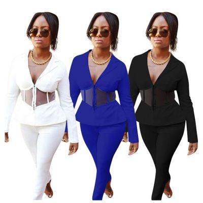 0111910 Hot Selling Women Fashion Clothing 2020 Sexy Mesh Ruffles Splice Womens Two Piece Set