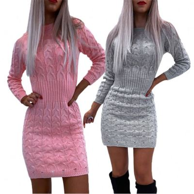 Wholesale Lowest Price 2020 Top Fashionable Long Sleeves Solid Color Ladies Sweater Dress Woman Casual Dress