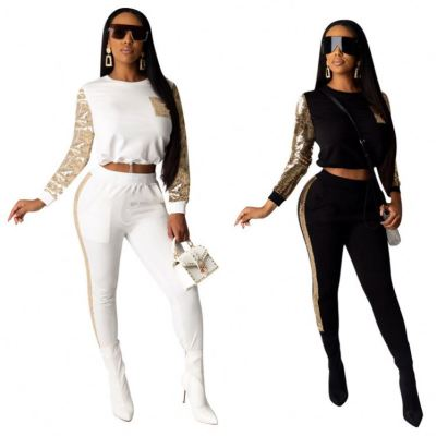 Good Quality Autumn 2020 Fashion Casual 2 Piece Set Women Top And Pnats Two Piece Set Women Clothing Sets