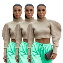 High Quality Puff Sleeves Turtleneck Elegant Womens Fashion Clothing 2020  Long Sleeve Crop Top Women Sexy Tops