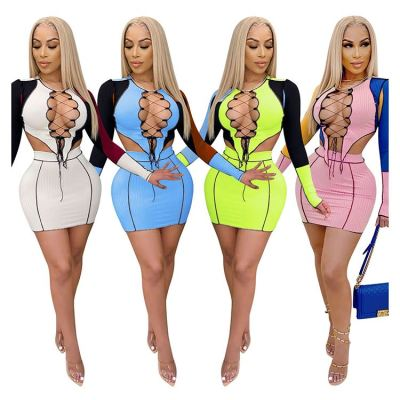 New Arrival Lacing Hollow Out Winter Sexy Hollow Out Skinny Two Piece Short Skirt Set 2 piece Sets Women Clothing