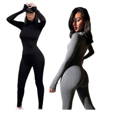 Best Seller 2020 Winter Clothes For Women Solid Color Bodycon Jumpsuits Women Jumpsuit And Rompers Lady Romper