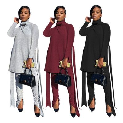Hot Design High Quality Fashion Casual Mock Neck 2 Piece Set Women Top And Straced Pants Two Piece Sets Womens Clothing