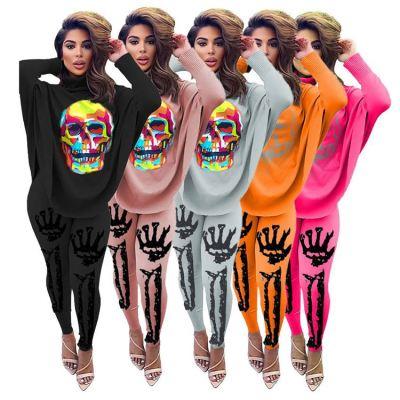 0111912 New Stylish Women Fashion Clothing 2020 Batwing Sleeve Print Womens Tracksuits 2 Piece Set