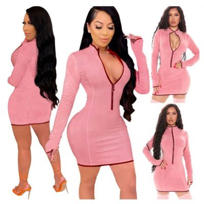 Best Sellers Zipper Long Sleeves Sexy Winter Woman Clothing New Women Short Dress Women Lady Casual Dresses