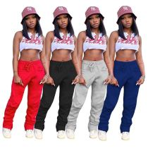Best Design Solid Color Sports Wear Csual New 2020 Winter Women Clothing Trousers Women Stacked Pants