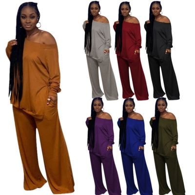 Hot Selling 2020 Winter Women Clothing Fashon Sexy One Off Shoulder Top And Wide Leg Womens Tracksuits 2 Piece Set