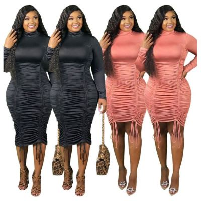Good Price Solid Color Pleated New popular Plus Size Clothes Female Clothing 2020 Women Casual Dress Women Lady Dresses
