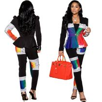 High Quality Colorful Printed V Neck Sexy Two Piece Set Women Clothing Jogger Set Women Lady Two Piece