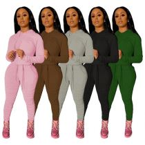 High Quality Womens Winter Clothing 2020 Fashion Casual Solid Color Hooied Stracked Pants Womens Tracksuits 2 Piece Set
