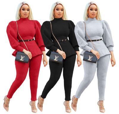 New Stylish 2020 High Quality Fashion Women Clothing Winter Casual Mutilcolor Choker 2 Piece Sets For Women