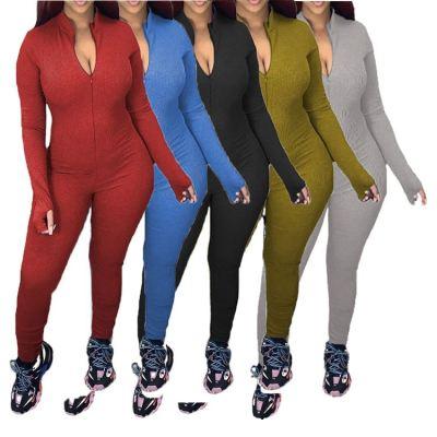 Wholesale 2020 Fall Fashion Women Clothes Zipper Solid Color Women Jumpsuits One Piece Romper Bodycon Jumpsuits