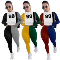 Lowest Price Number Printed Contrast Color Lady Two Piece Pants Outfit 2 Piece Set Women Clothing Matching Sets