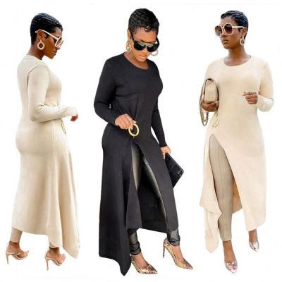 Hot Selling Fashion Casual Womens Winter Clothing 2020 Solid Color Rib Long Sleeve Dress Woman Casual Dresses