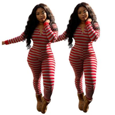Newest Design Strip Printed Long Sleeves V Neck Women Bodycon Jumpsuits One Piece Jumpsuit Lady Rompers