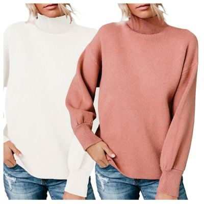 Best Seller High Quality Fashion Casual Women Top Ladies Winter Choker Tops Latest Design Solid Color Women Sweater
