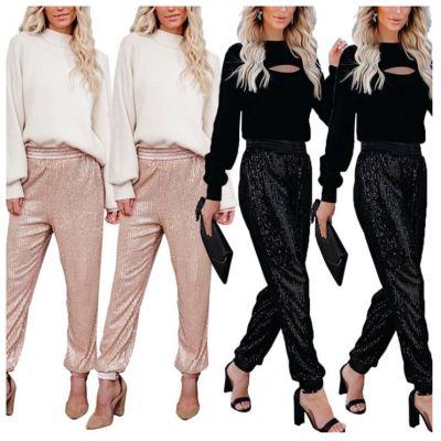 Best Design 2020 Top Fashion Women Fall Clothing Sequin Decoration Lady Bottoms Pants Women Casual Jogger Pants