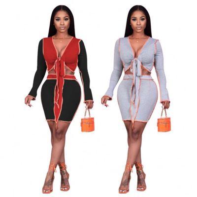 0112640 New Sexy Skirt And Top Set 2 Piece Dress Set Women