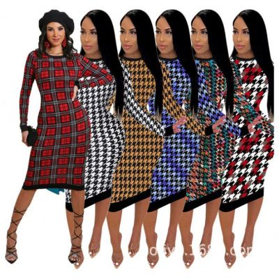 New Inventory Plaid Elegant Bodycon Fashion Clothing 2020 Dress Women Casual Dress Women Lady Dresses