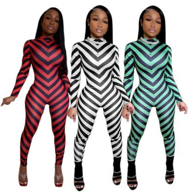 Newest Design Stripped Print Contrast Color Long Sleeves Women Jumpsuits Lady Romper One Piece Jumpsuits