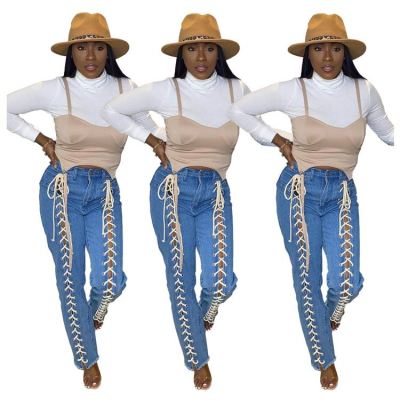 Best Seller Good Quality Fashion Tredency Women Pants Casual Bandage Denim Jeans Pants Womens Trousers