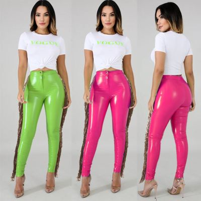 Hot Selling Solid Color Cool Women Fashion Clothing Sequin Tassel Leather Pants For Women Leather Trousers