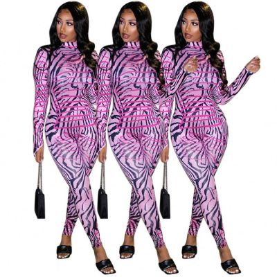 Newest Style Printed Long Sleeves Skinny Trendy Jumpsuit Women 2020 One Piece Jumpsuits Woman Jump Suit