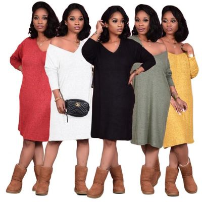 Best Sellers One Shoulder Solid Color Loose Plus Size Clothes Womens Clothing Casual Dresses Women Girl Dress