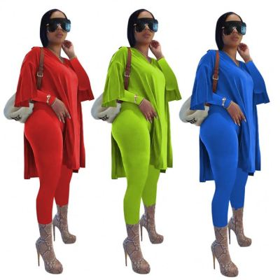 High Quality Fall Solid Color Long Sleeves Two Piece Set Women Clothing Lady Outwear And Pants Two Piece Tracksuits