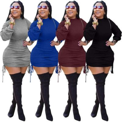 Newest Design 2020 Top Fashion Sexy Women Clothing Solid Color Bodycon Dress Women Long Sleeves Dresses