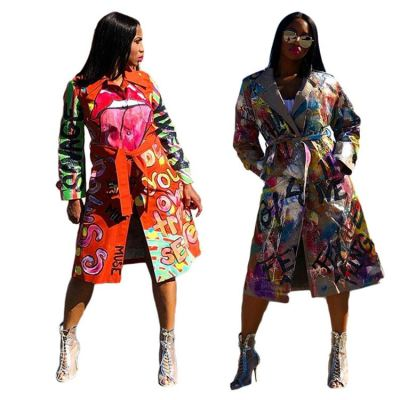 Wholesale Fashion 2020 Colorful Print Patchwork Bandage Women Clothing Lady Jackets Women Winter Coat Lady Outwear