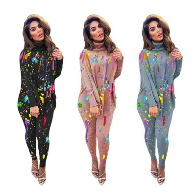New Arrivals Patchwork Choker Long Sleeves Casual Wear Women Two Piece Set Clothing Matching Sets Two Piece Pants Outfit