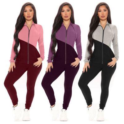 Wholesale Fashion Casual Winter Contrast Color 2 Piece Set Women Long Sleeve Zipper Two Piece Set Women Clothing
