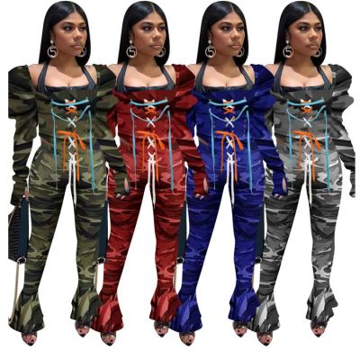 Hot Sale Fashion Casual Camouflage Square Neck Bandage 2 Piece Set Women Puff Sleeve Bell Pants Two Piece Set Women Clothing