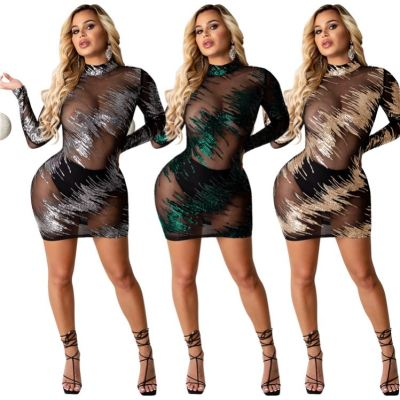 Good Quality Women Fashion Clothing New 2020 Mesh Perspective Long Sleeve Sequin Dress Party Club Dresses