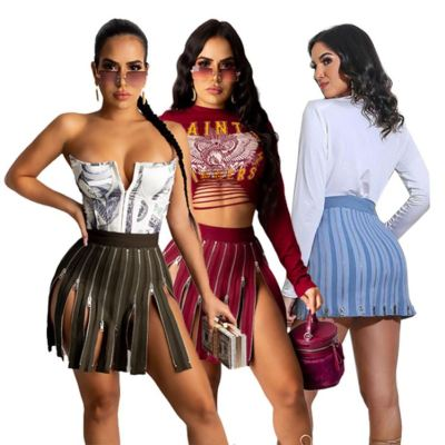 0112703 Best Design Women Fashion Clothing Zipper Splice Women Skirts