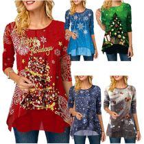 Low Price Women Fashion Clothing 2020 Snowman Printing Christmas Women Ladies Tops 2020 Long Sleeve T Shirt