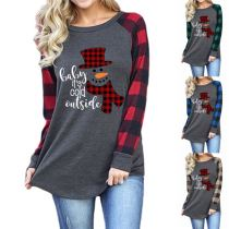 0120402 Best Design Women Fashion Clothing 2020 Snowman Printing Women Long Sleeve T Shirt