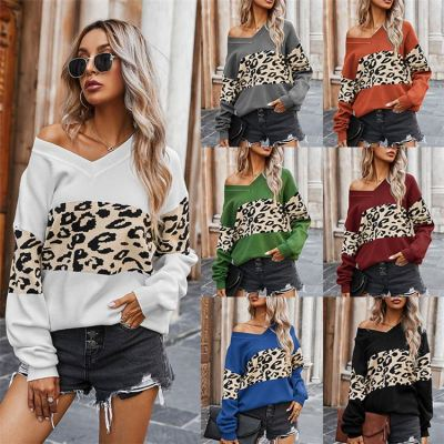 Hot Selling One Shoulder Trendy Women Clothing 2020 Ladie Sexy Tops V Neck Leopard Splice Women Sweater