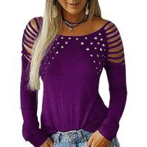 0120403 Latest Design Women Fashion Clothing 2020 Ladies Rivet Tops Women Long Sleeve T Shirt