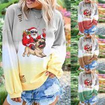 Latest Design Women Trendy Fashion Clothing Snowman Printing Christmas 2020 Women Ladies Tops Long Sleeve T Shirt