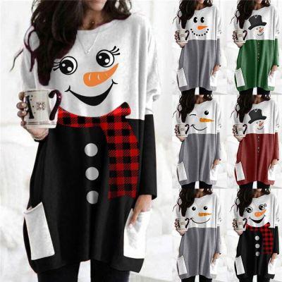 0120412 Fashionable Women Clothing 2020 Christmas Snowman Printing Ladies Tops Womens Sweatshirts