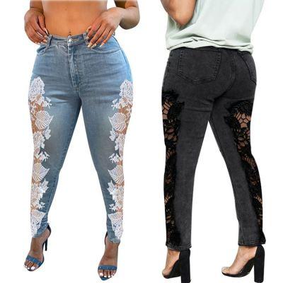 Latest Design Lace Splice Women Fashion Clothing Tight Pencil Pants Women Jeans 2020 Ladies Denim Pants