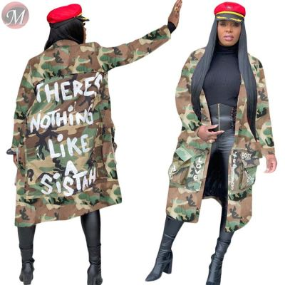 9112931 newest design camouflage letter print long cardigan coat Winter Clothes Women